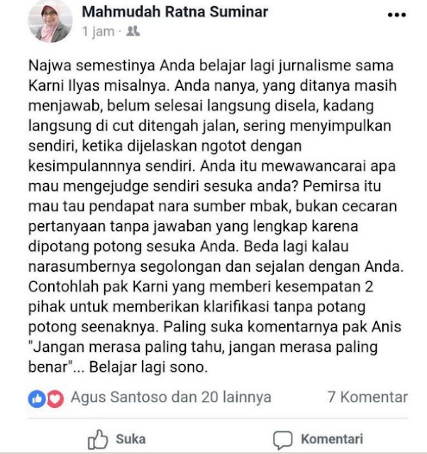 Suka Memotong Pembicaraan Narasumber, Netizen Berikan Komentar Pedas Host Mata Najwa
