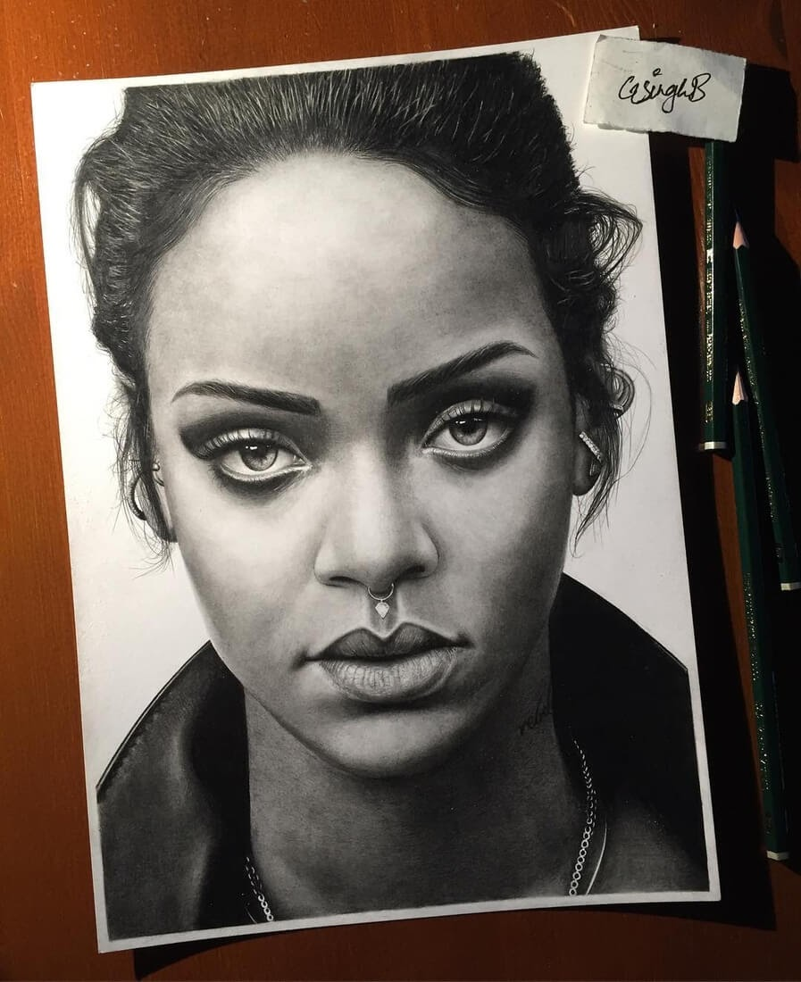 06-Rihanna-Gurekbal-Bhachu-Realistic-Celebrity-Portraits-Drawings