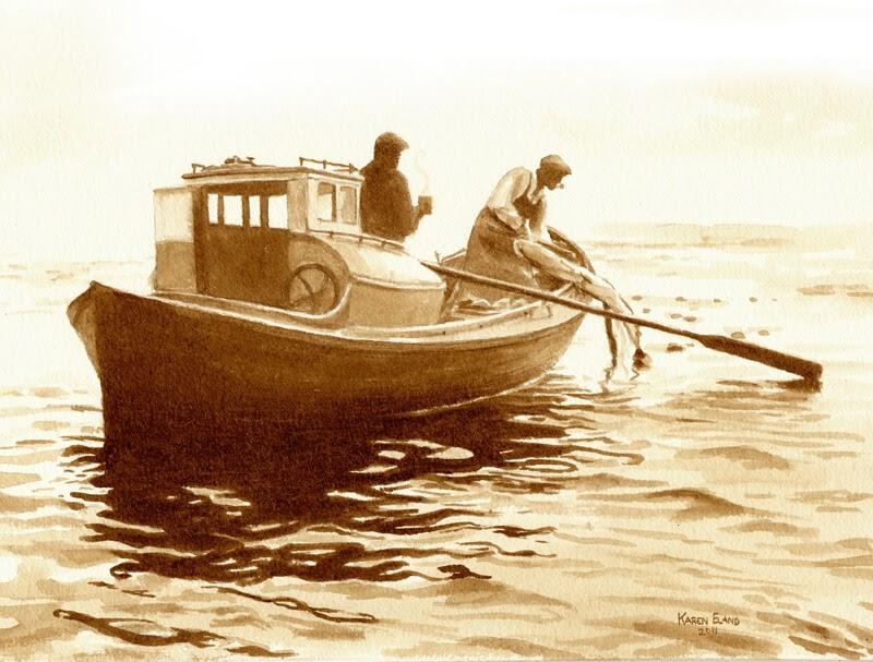 13-Fishing-Karen-Eland-The-World-Through-Coffee-Paintings-www-designstack-co