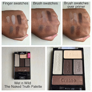 Wet n Wild The Naked Truth Palette swatches on dark skin