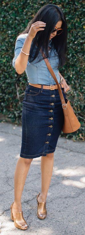 how to style a denim pencil skirt : denim shirt + bag + golden heels