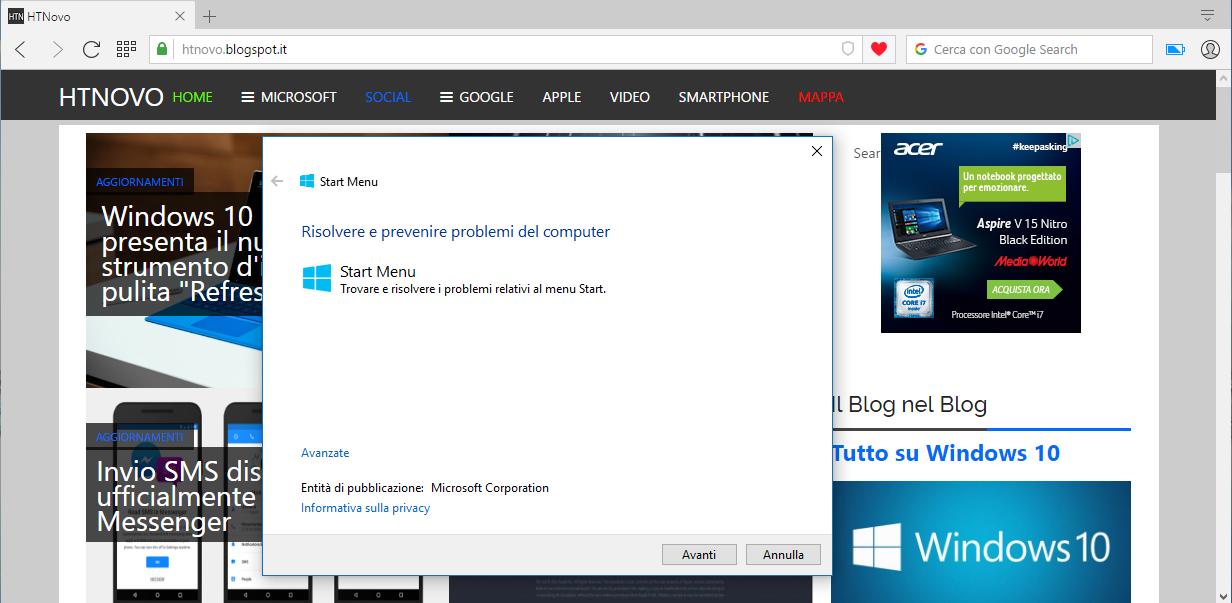 Fix problemi Menu Start Windows 10 HTNovo