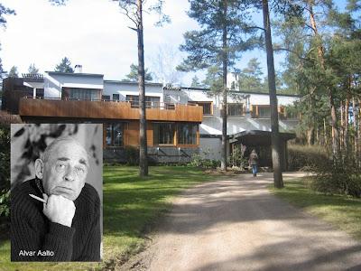 Retrato de Alvar Aalto y acceso a la Villa Mairea