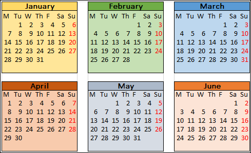 Multi-color 2019 calendar template