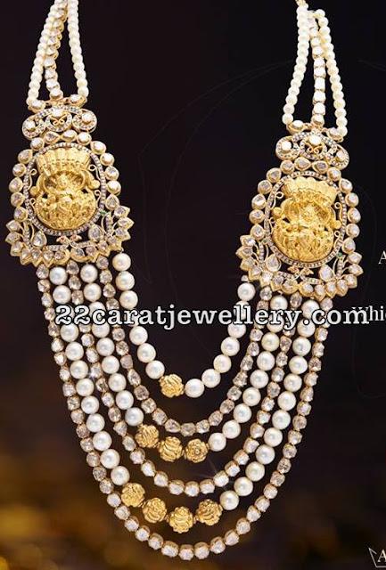 Pearls and Diamonds Long Set with Krishna Motifs
