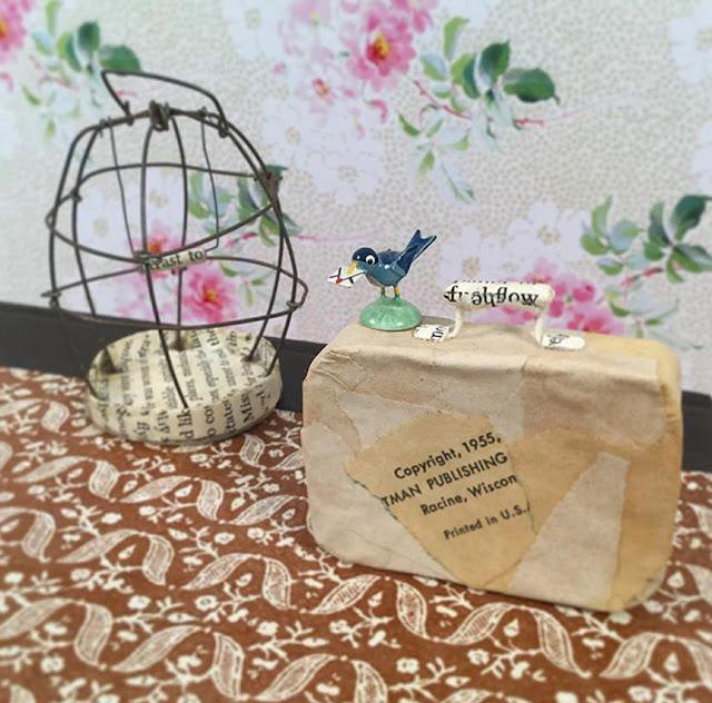 Paper Suitcase wire birdcage