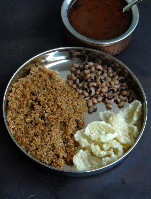 Vatha Kuzhambu Quinoa, Quinoa with Vatha Kuzhambu