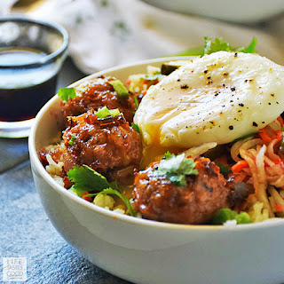 Vietnamese Bowl with Pork Meatballs over Rice