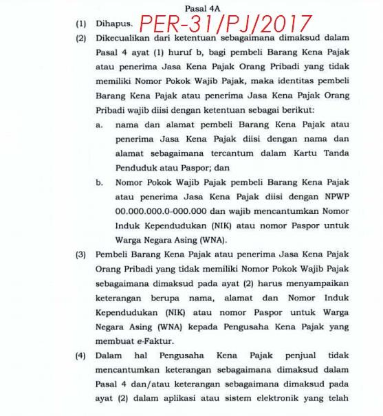 PER-31/PJ/2017 Tentang Tata Cara Pembuatan Dan Pelaporan Faktur Pajak Berbentuk Elektronik