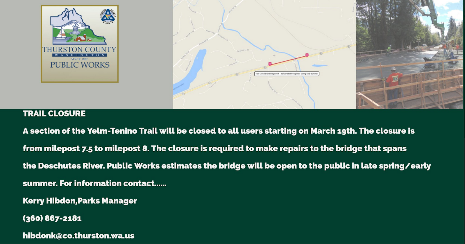 starting monday march 19 a section of the yelm tenino trail will be closed from milepost 7 5 to milepost 8 the closure is required to make repairs to the