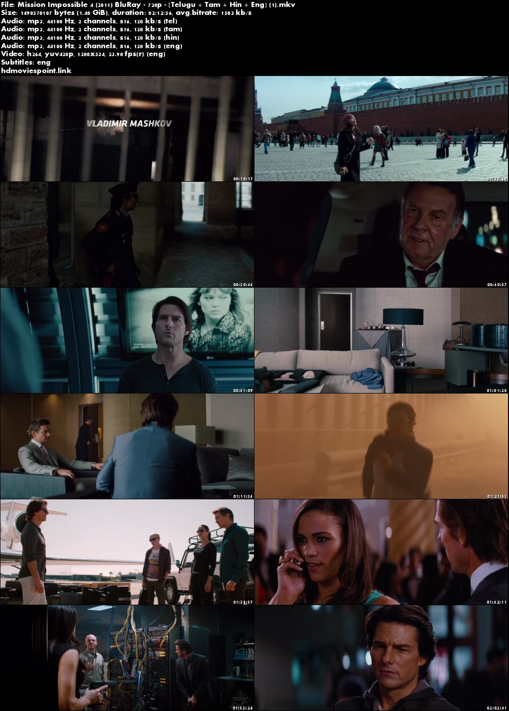 screen shot Mission Impossible - Ghost Protocol 2011 Full Movie Download 720p