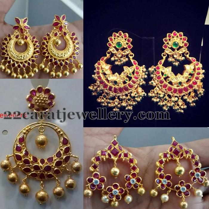 Light Weight Ruby Chandbali Earrings Jewellery Designs