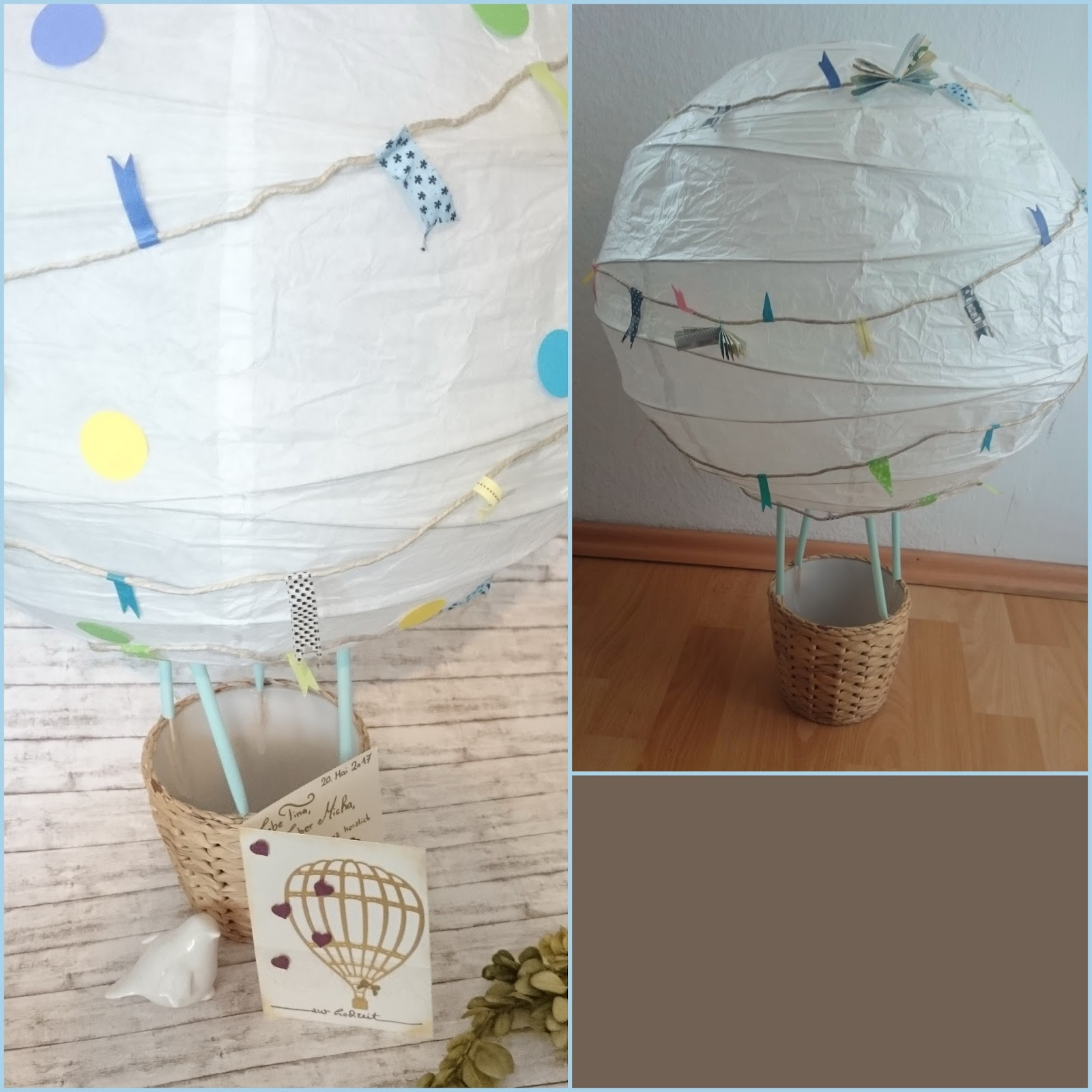 lucciola diy wedding hot air balloon gift of money hochzeits hei luftballon als geldgeschenk. Black Bedroom Furniture Sets. Home Design Ideas