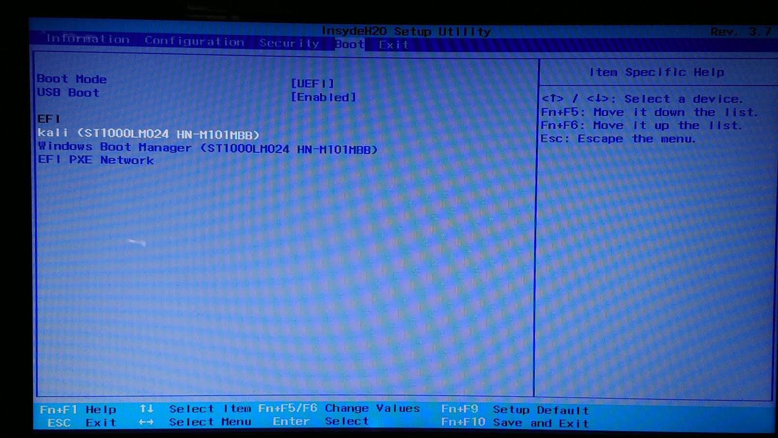 Opciones de arranque de la BIOS