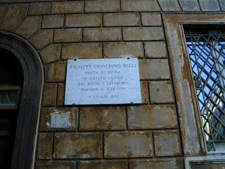 The plaque marking the birthplace of Giuseppe Gioachino Belli, in Via dei Redentoristi in central Rome