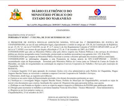 Portaria instaurando inquérito contra prefeito de Chapadinha