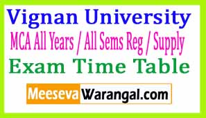Vignan University MCA All Years / All Sems Reg / Supply Apr-May 2017 Exam Time Table