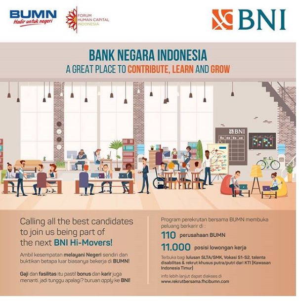 Lowongan Bank Negara Indonesia Via Rekrut Besama FHCI BUMN