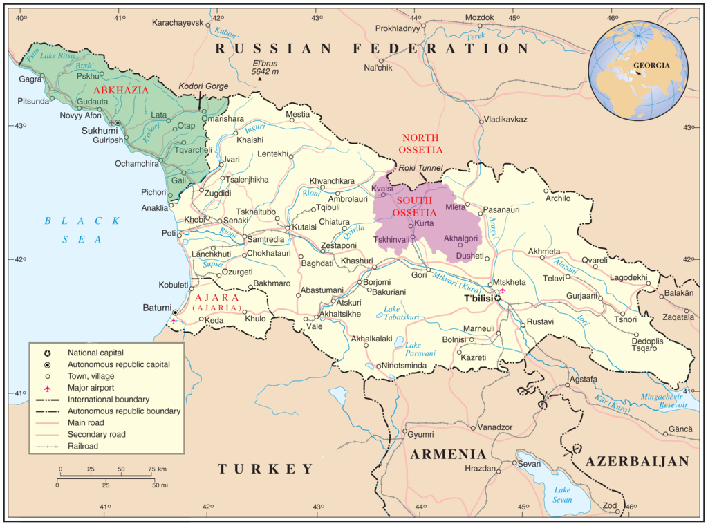 Where is South Ossetia? Map showing the locations of the unrecognized, self-proclaimed countries of Abkhazia and South Ossetia within the context of Georgia, the country that claims them as part of it.