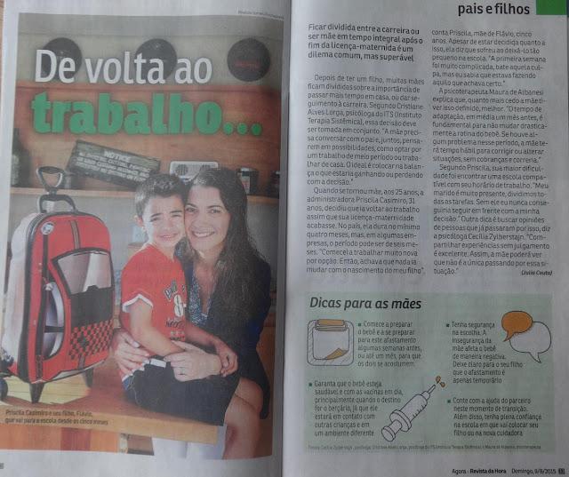 Mãe Sem Frescura - Na Mídia - Entrevista ao Grupo Folha - Revista da Hora - Jornal Agora - Volta ao Trabalho