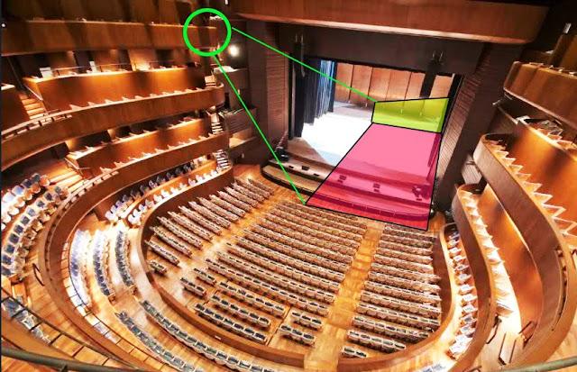 foto que muestra el área del escenario que puede distinguirse desde las butacas de vista parcial del cuarto piso