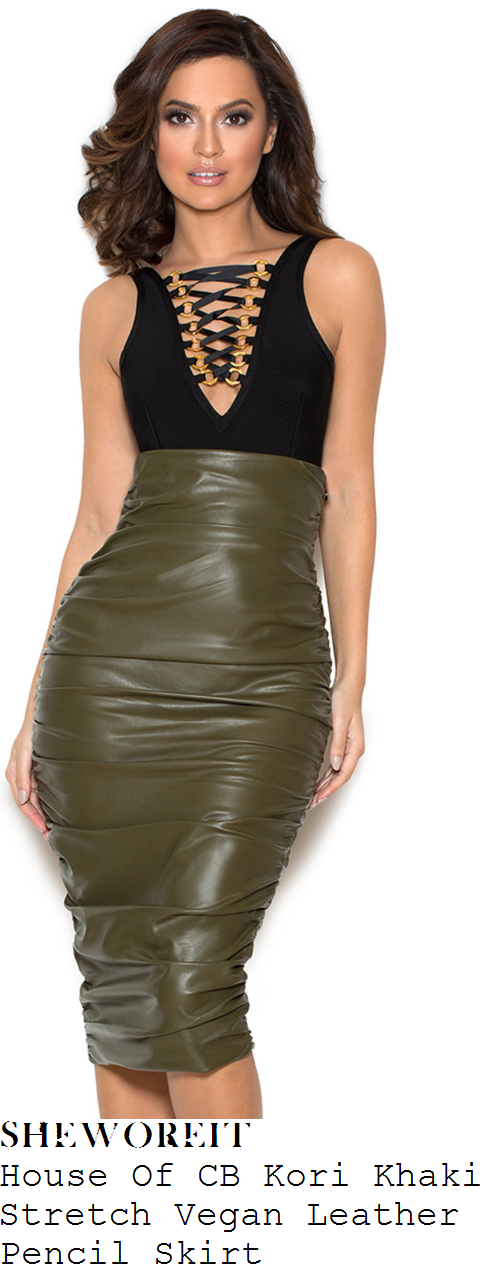 nicole-scherzinger-house-of-cb-kori-khaki-green-high-waisted-draped-stretch-vegan-leather-pencil-skirt