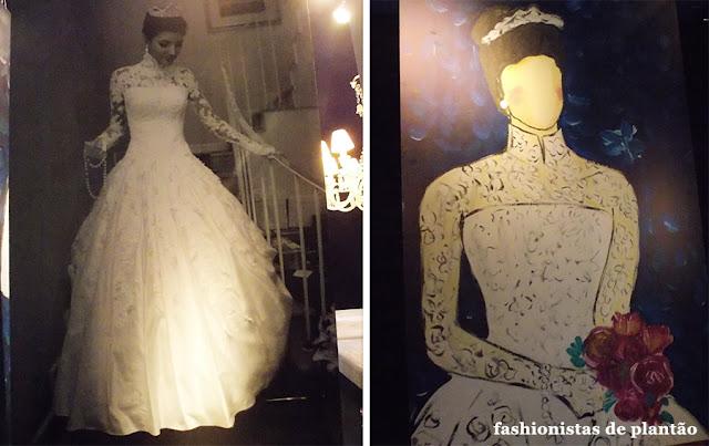 Fotografia de Maria Rudge Piva de Albuquerque ao lado o desenho de seu vestido