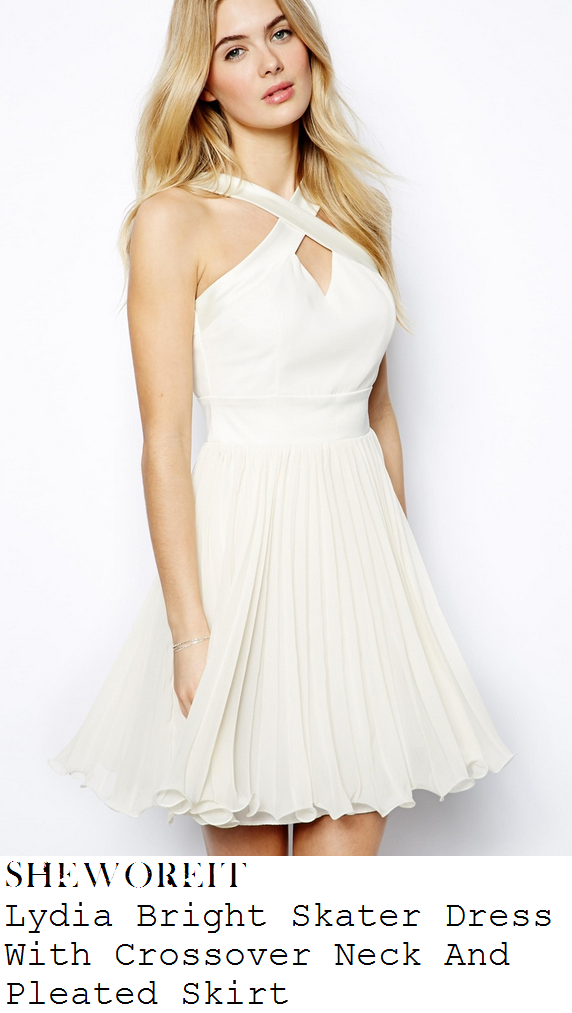 lydia-bright-cream-off-white-sleeveless-cross-over-strap-neckline-detail-pleated-skater-dress