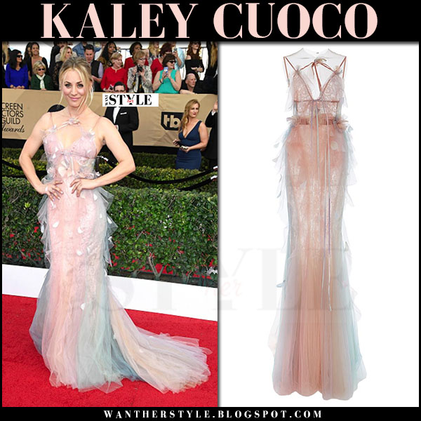 Kaley Cuoco in pink sheer marchesa gown SAG Awards 2017 what she wore