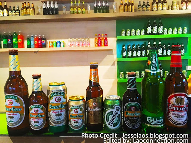 Lots of different Beer Lao products