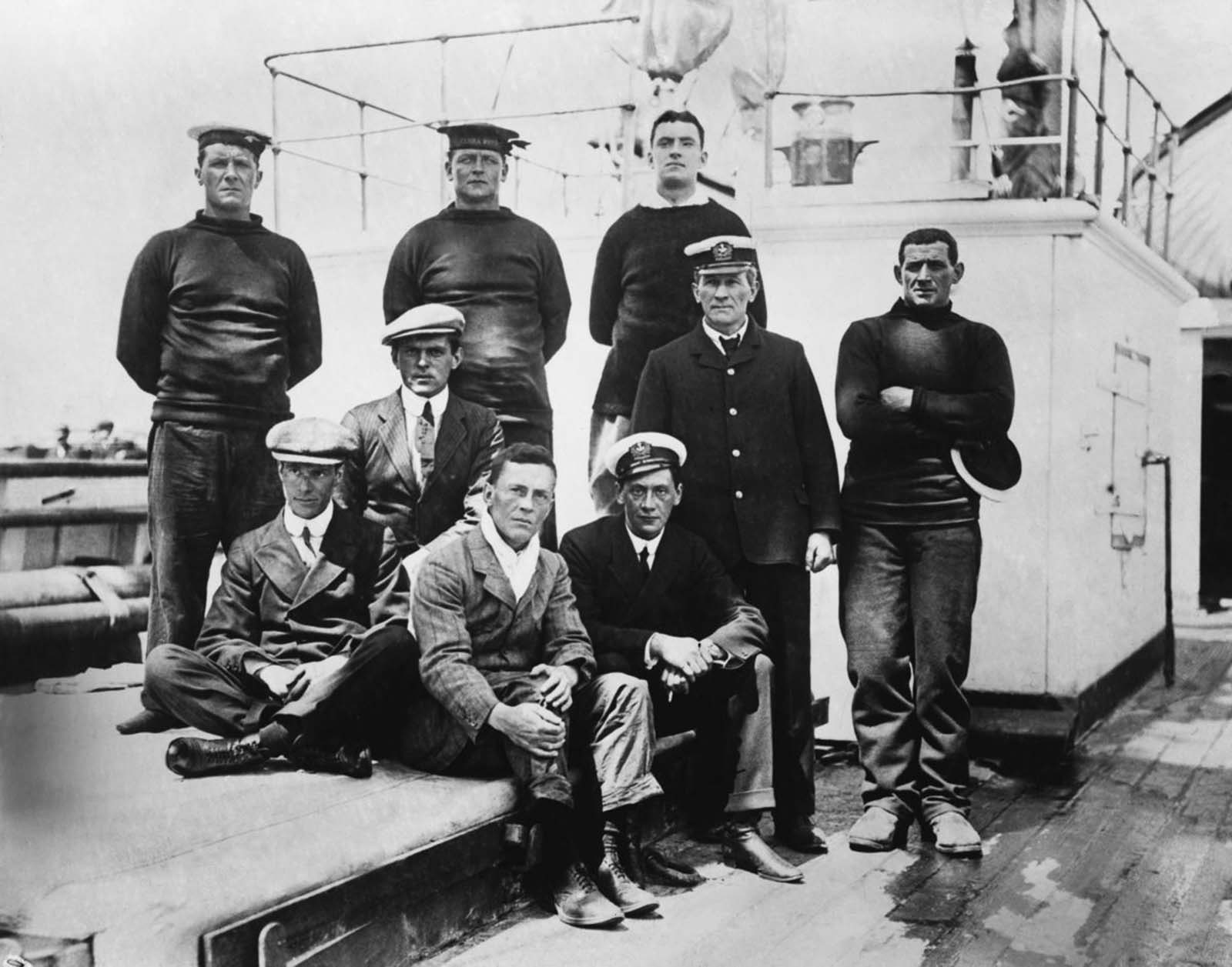 Expedition members return to New Zealand on the Terra Nova after finding the bodies of Scott and the other victims. January, 1913.