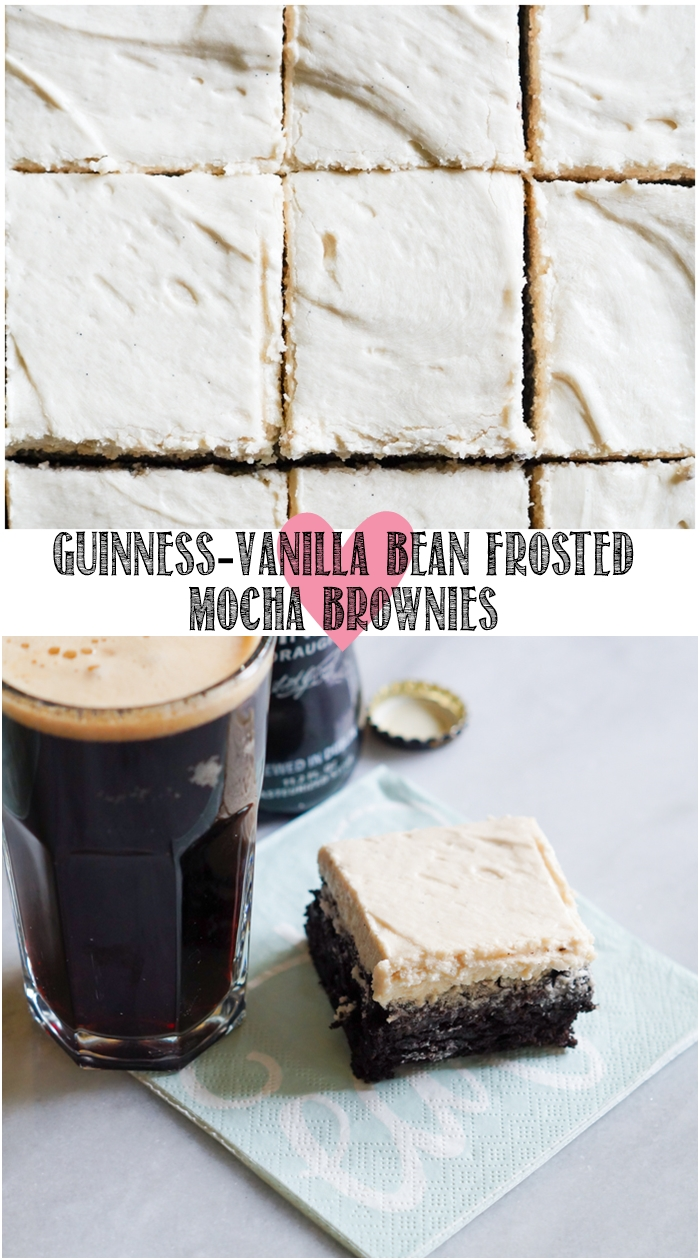 Guinness-Vanilla Bean Frosted Mocha Brownies ... one of our favorite brownie recipes EVER. | bakeat350.net