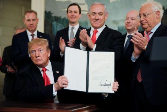 Doqonkii Trump oo buuraha Golan Heights u aqoonsaday qeyb ka mid ah Israel