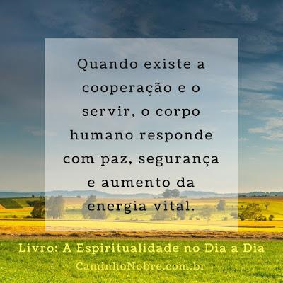 Quando existe a cooperação e o servir, o corpo humano responde com paz, segurança e aumento da energia vital.
