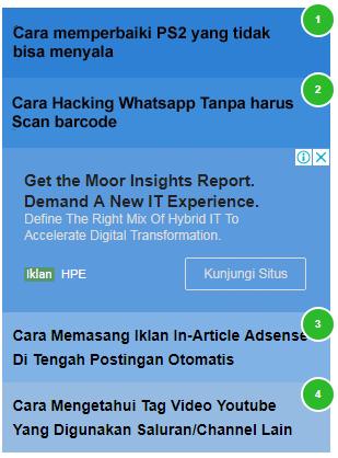 Cara Memasang Kode Iklan Adsense Jenis In-Feed Di Antara Widget Popular Post