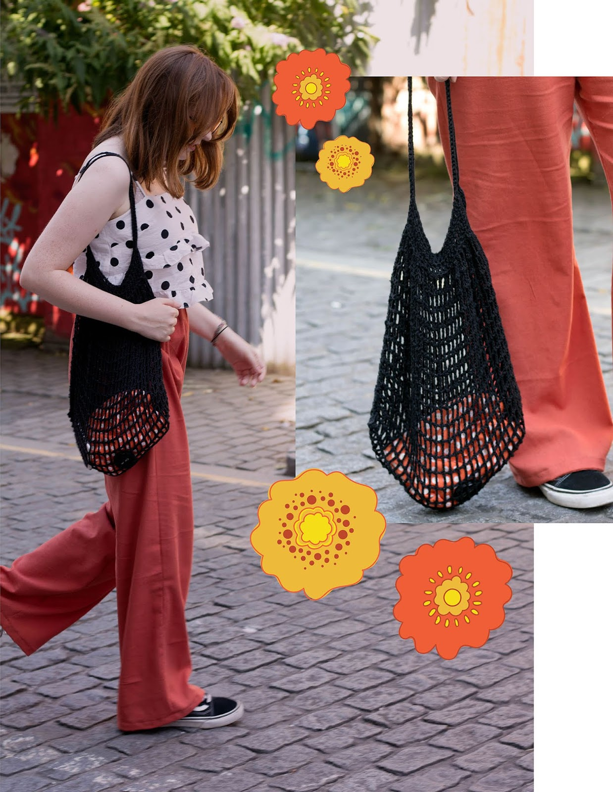 seventies style outfit for summer by liverpool uk style blogger allie davies featuring black mesh knitted beach bag
