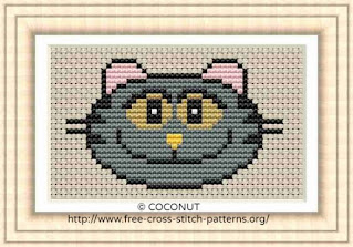 Free and easy printable funny cat cross stitch pattern