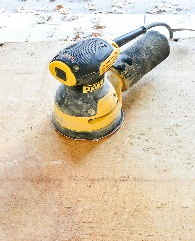 fill holes and sand with orbital sander