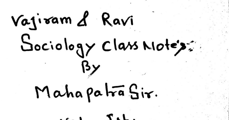 INDIA PLUS: SOCIOLOGY OPTIONAL HAND WRITTEN NOTES OF