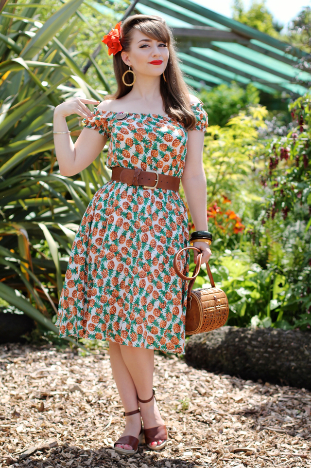 Collectif Renie pineapple print gypsy dress for tropical 50s outfit