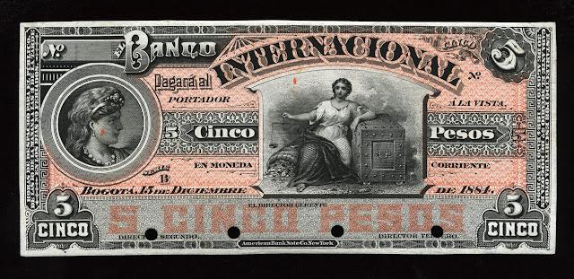 Colombia cinco Pesos billete