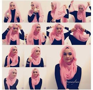 Cara Memakai Hijab Pashmina Pesta