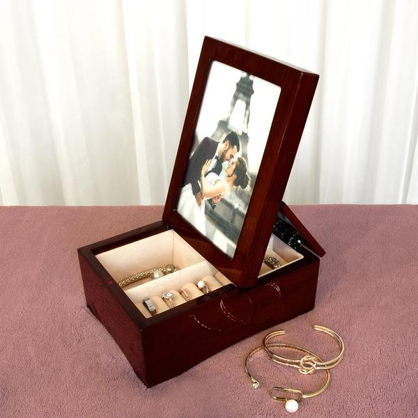Shop Nile Corp Wooden Glossy Rosewood Musical Jewelry Box with Fold-up 4x6 Photo Frame