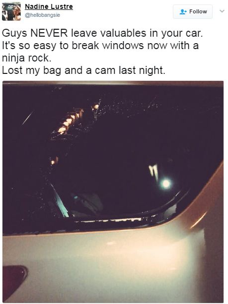 Viral! Nadine Lustre's Valuables Get Stolen from Her Car. See What the Criminals Did to Her Belongings!