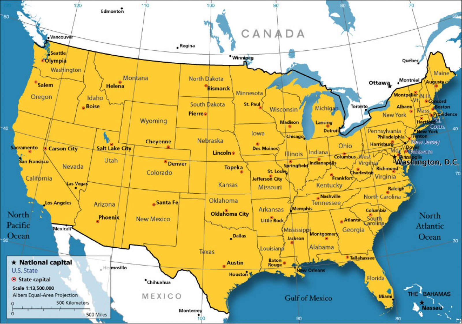 usa map region area map of caa city geography