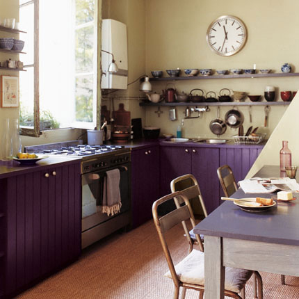 Paint colors for kitchen with black appliances. white and blue ...