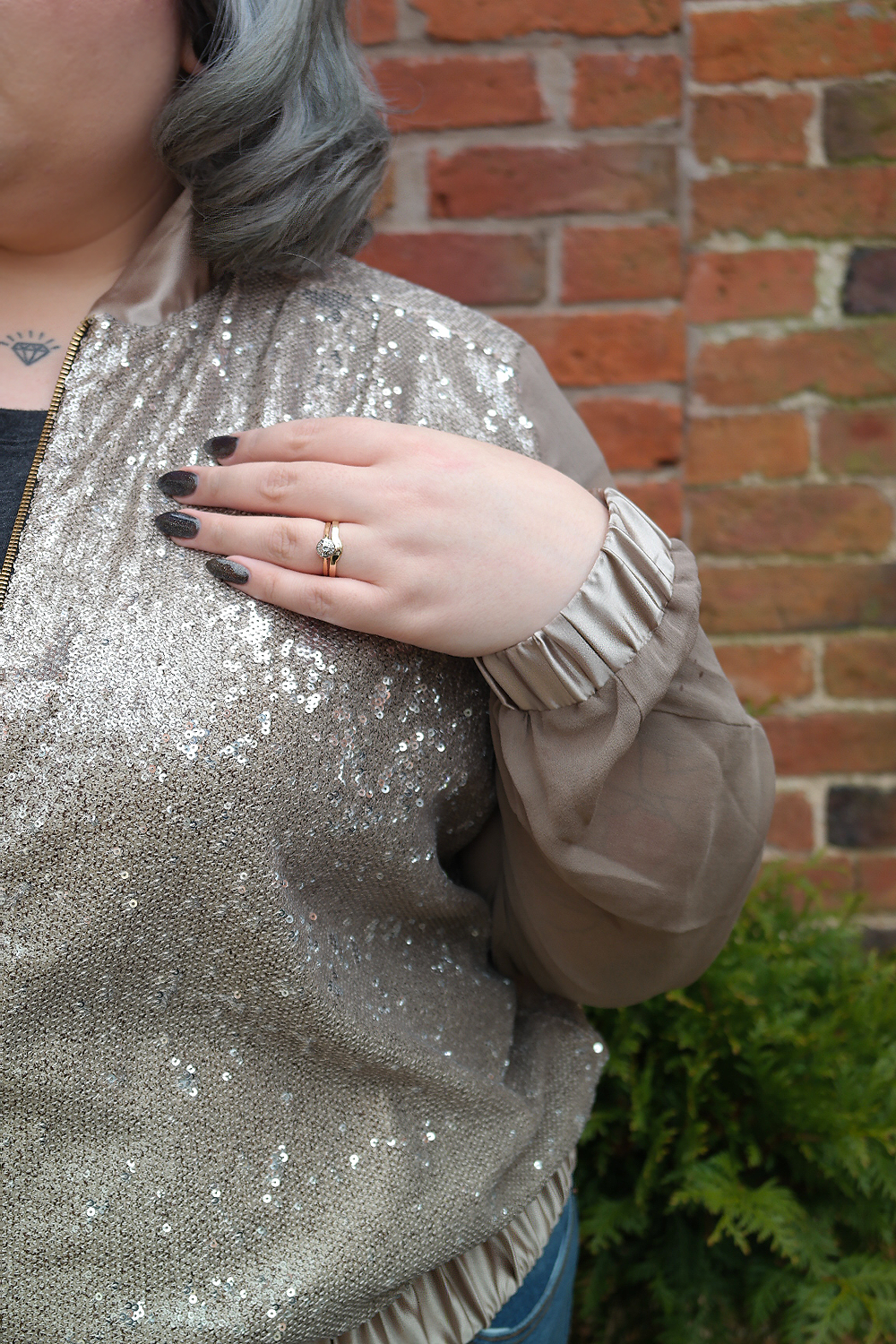 UK Plus Size Fashion Blogger Elvi Prima Gold Sequin Bomber Jacket