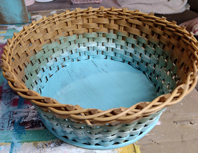 Update a Thrift Store Basket with Paint for Spring