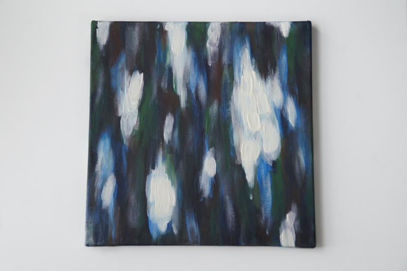 Abstrakte Malerei Acryl auf Leinwand Blautöne und Weiß moderne originale Kunst. Tasteboykott.