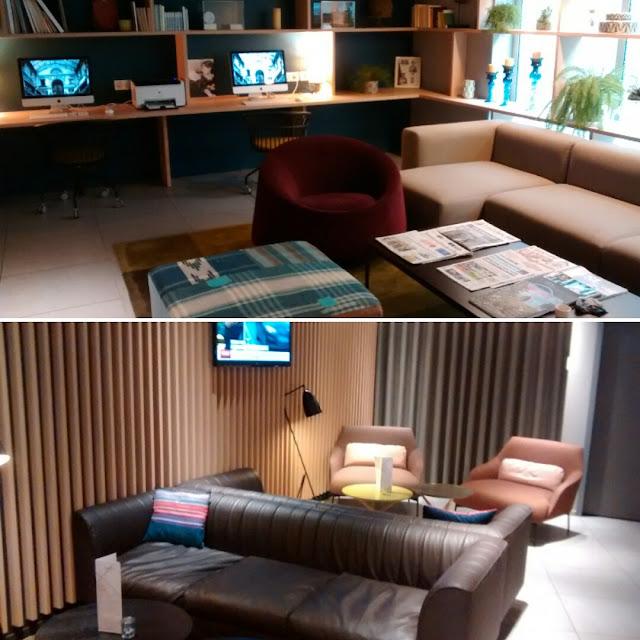 Sala super agradável e confortável com computadores, jornais, revistas, livros e muito mais - Okko Hotel - Nantes - França